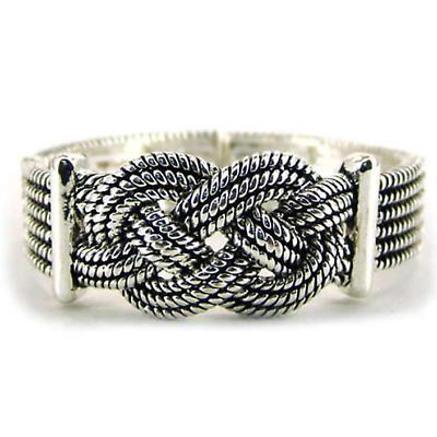 Celtic Bracelet - Silvertone Celtic Knot Stretch Bracelet