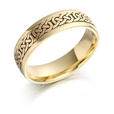 Irish Wedding Ring - Ladies Gold Celtic Knots Wedding Band