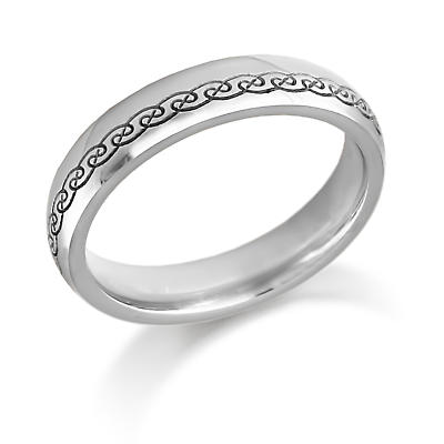 Irish Wedding Ring - Ladies Gold Celtic Swirls Irish Wedding Band
