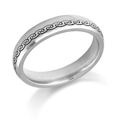 Irish Wedding Ring - Mens Gold Celtic Swirls Irish Wedding Band