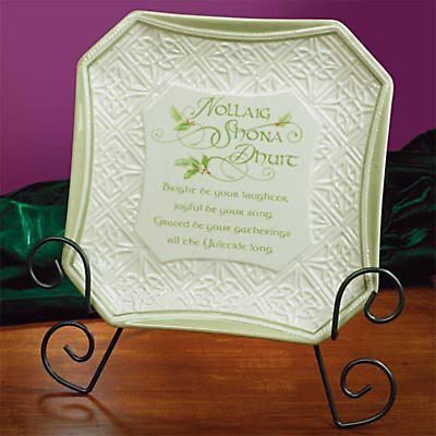 Irish Christmas - Gaelic Christmas Greetings Plate with Easel