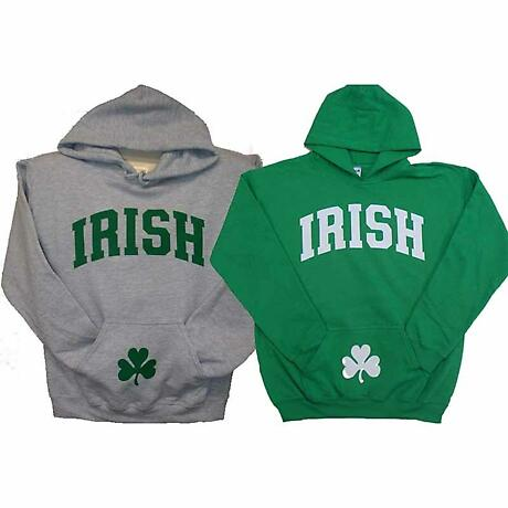Irish Sweatshirt - Irish Hooded Sweatshirt with Shamrock on Pocket