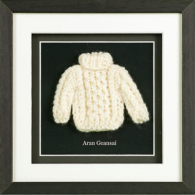 Irish Wall Decor - Aran Wool Sweater Hand Knit Minature Framed Wall Hanging