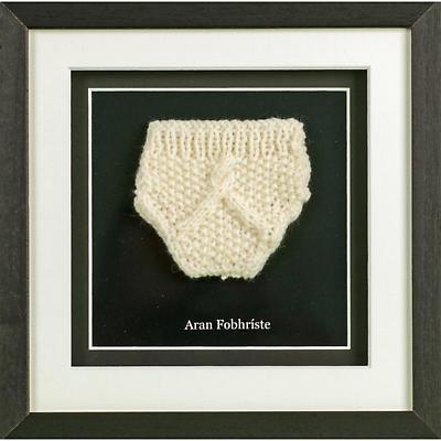 Irish Wall Decor - Aran Knit Underwear Hand Knit Minature Framed Wall Hanging