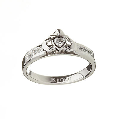 Irish Ring - CZ Claddagh Ring Sterling Silver