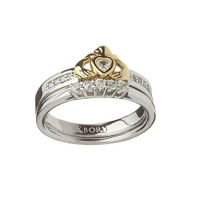 Irish Ring - 10k Claddagh and Silver CZ Ring with Silver Matching Ring