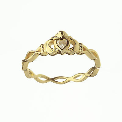 Irish Ring - CZ Claddagh Ring with Twisted Band