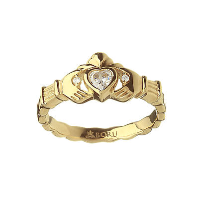Irish Ring - Heavy CZ Claddagh Ring with CZ's in Hands