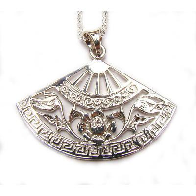 Irish Necklace - Celtic Rose Fan Pendant