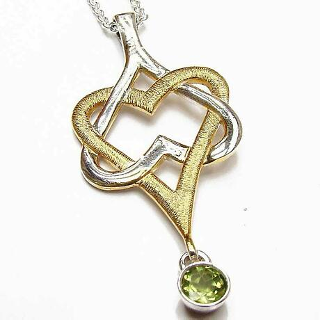 """Irish Necklace - Sterling Silver with 22k Gold Plating Mo Chroi """"My Darling"""" Pendant"""