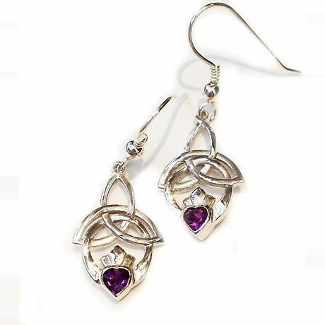 Celtic Earrings- Trinity Knot Claddagh Earrings - Amethyst