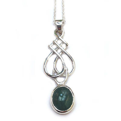 Celtic Pendant - Sterling Silver Celtic Spear Pendant with Aventurine