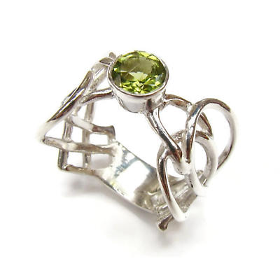Celtic Ring - Sterling Silver Celtic Spear Ring with Peridot