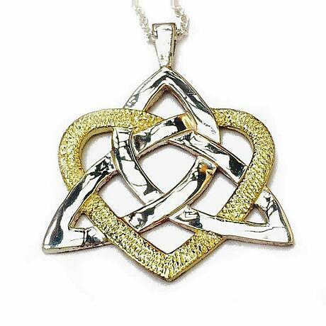 Celtic Necklace - Sterling Silver Heart of Celt Two Tone Pendant