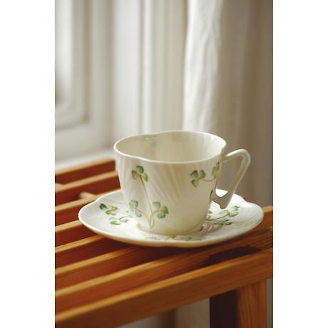 Belleek Harp Shamrock Teacup & Saucer