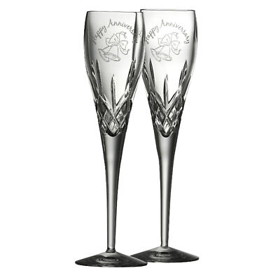 Galway Crystal Happy Anniversary Flutes - Set of 2