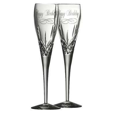 Galway Crystal Happy Birthday Flutes - Set of 2
