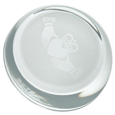 Galway Crystal Claddagh Sliced Paperweight
