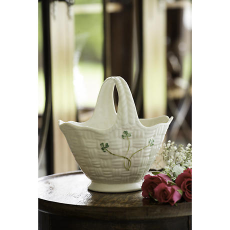 Belleek Shamrock Handled Basket