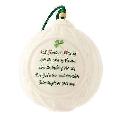 Irish Christmas - Belleek Christmas Verse Ball Ornament
