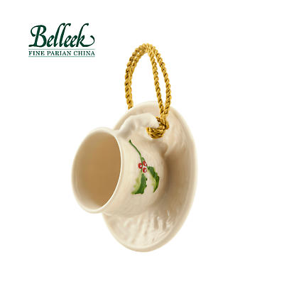Irish Christmas - Belleek Holly Teacup & Saucer Ornament