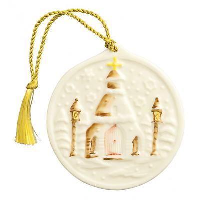 Irish Christmas - Belleek Snowflake Church Ornament