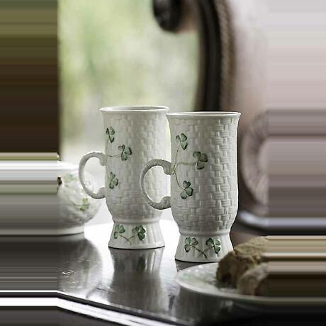 Belleek Irish Coffee Mugs - Set of 2