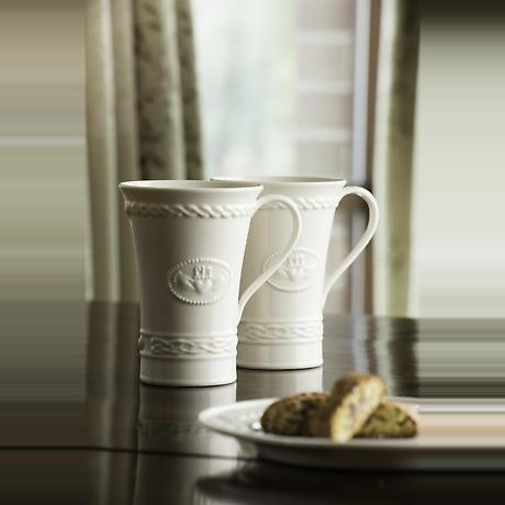 Belleek Claddagh Latte Mugs - Set of 2