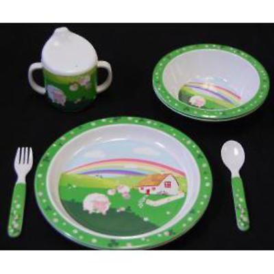 Children's Irish Sheep Plate, Cup. Bowl and Utensils Set