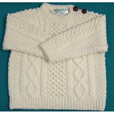Irish Sweater - Children's Button Crew Aran Sweater