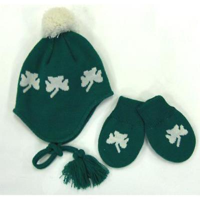 Irish Shamrock Infant Hat and Mittens Set