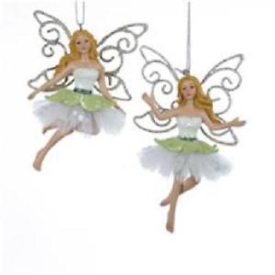 Irish Christmas - Green & White Fairy Ornaments - Set of 2