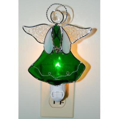 Stained Glass Shamrock Angel Nightlight
