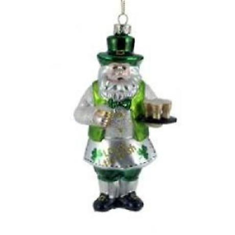 Irish Christmas - Irish Santa Glass Ornament