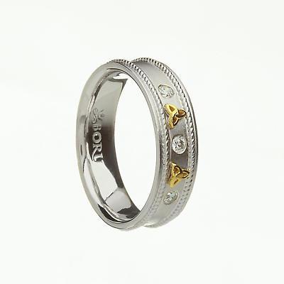 Irish Ring - 10k Trinity Knots CZ Band with Milgrain Irish Wedding Ring
