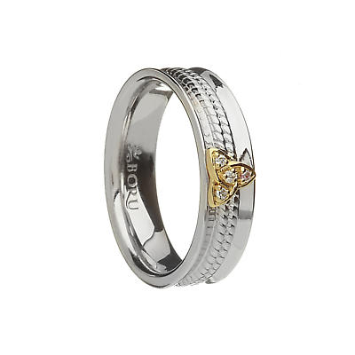 Irish Ring - 10k Trinity Knot CZ Narrow Curved Band with Rope Center Irish Wedding Ring