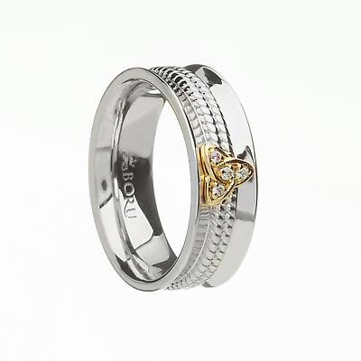 Irish Ring - 10k Trinity Knot CZ Wide Curved Band with Rope Center Irish Wedding Ring