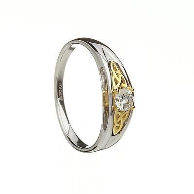 Irish Ring - 10k Trinity Knots with CZ on Silver Band Irish Wedding Ring