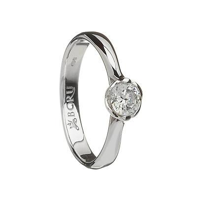 Irish Ring - Contemporary Band with Trinity and CZ Stone Irish Wedding Ring