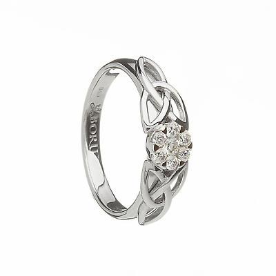 Irish Ring - Contemporary Band with Trinity Knots and CZ Stones Irish Wedding Ring