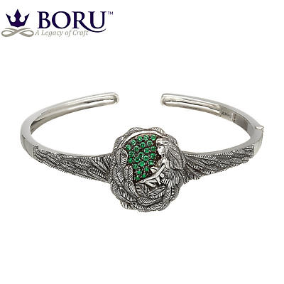 Irish Bracelet - Danu Bangle with Green CZ