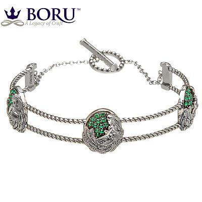 Irish Bracelet - Danu Wire Bangle with Green CZ