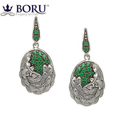Irish Earrings - Danu Earrings with Green CZ