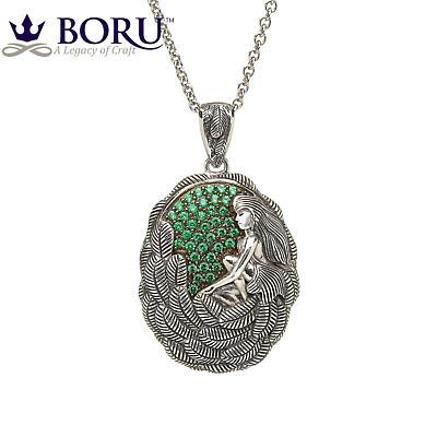 Irish Necklace - Danu Pendant with Green CZ
