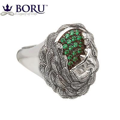 Irish Ring - Danu Ring with Green CZ