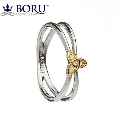 Irish Ring - 10k CZ Trinity Knot Split Silver Band Irish Wedding Ring