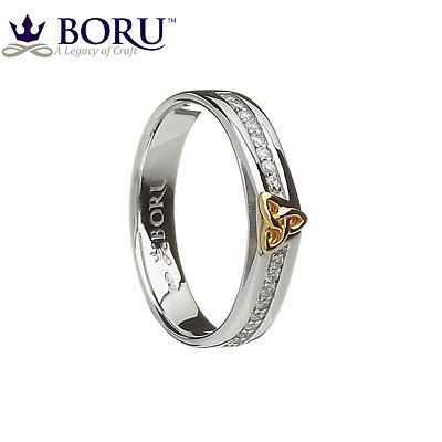 Irish Ring - 10k Trinity Knot CZ Narrow Band Irish Wedding Ring