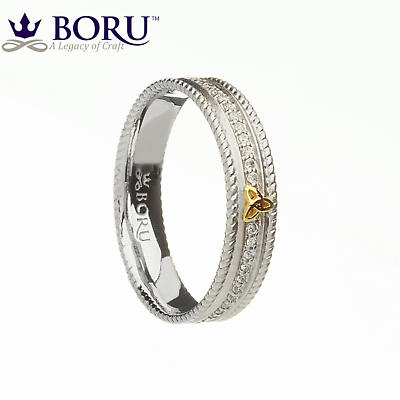 Irish Ring - 10k Trinity Knot CZ Narrow Band with Rope Edges Irish Wedding Ring