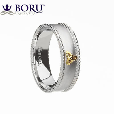 Irish Ring - 10k Trinity Knot Wide Band with Rope Edges Irish Wedding Ring