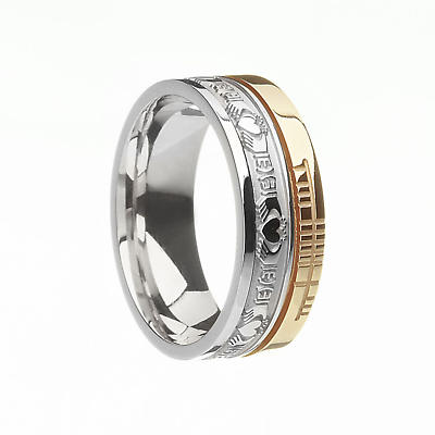 "Irish Rings - 10k Yellow Gold and Sterling Silver  Comfort Fit ""Faith"" Claddagh  Band"